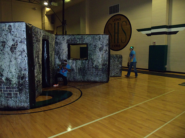 Battlefield set up in basketball gym